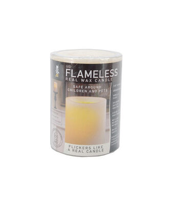 "Hudson 43 Candle & Light Collection 4""LED Flameless Real Wax Candles-Cream"