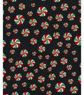 Christmas Cotton Fabric 43\u0027\u0027-Peppermints on Black