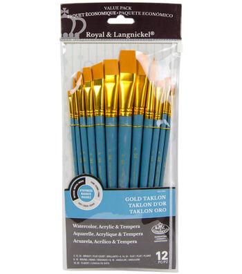 Royal Langnickel 12pc Flat Variety Brush Set-Gold Taklon