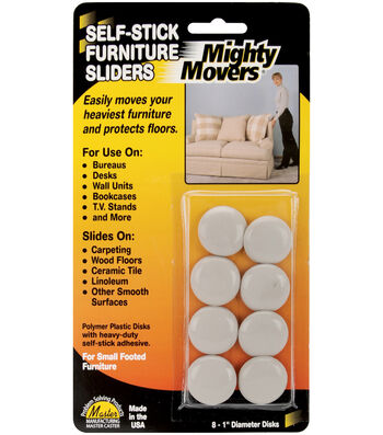"Mighty Movers Self-Stick Furniture Sliders 1"" Round"