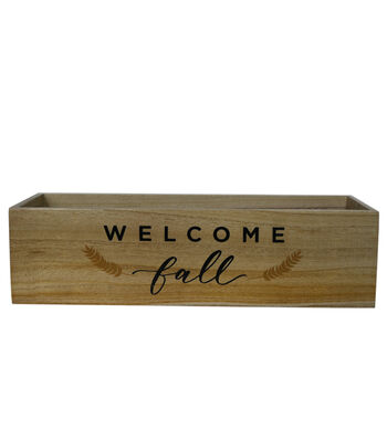 Simply Autumn Wood Container-Welcome Fall