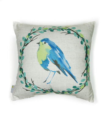 Hello Spring Solarium Pillow-Watercolor Bird