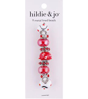 hildie & jo Mix & Mingle Metal Lined Glass Beads-Red