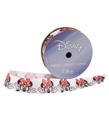 Offray Disney Satin Ribbon 7/8''x9'-Minnie with Glasses