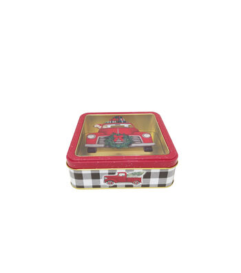Maker's Holiday Small Square Cookie Container with Clear Top-Truck
