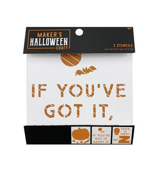 Maker's Halloween Craft 3 pk 6''x6'' Stencils-Pumpkin