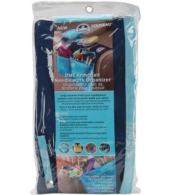 DMC 20''x12.25'' Armchair Needlework Organizer-Dark Blue & White