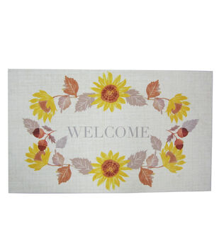 Simply Autumn Door Mat-Welcome & Sunflower