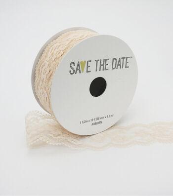 "Save the Date 1.5"" x 15ft Ribbon-Blush Lace"