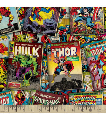 Marvel Comics Retro Comic Covers Cotton Fabric