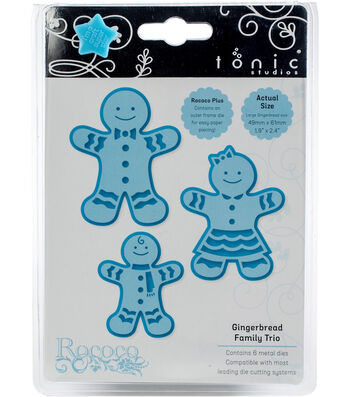 Tonic Studios Christmas Rococo Plus 6 pk Dies-Gingerbread Family Trio