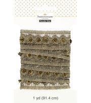 Buttercream 1 Yard Trim Mesh Wide Sequin Bead Black Gold, , hi-res