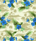 Tropical Shirting Fabric Scenic Blue & Khaki