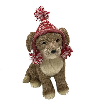 Blooming Holiday Christmas Puppy with Knit Hat