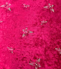 Sew Sweet Velvet Fabric-Embroidery Butterflies on Tango Red