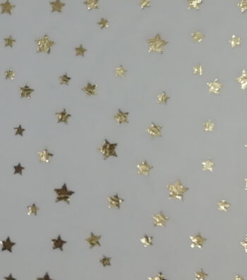Patriotic Soft & Comfy Fleece Fabric-Metallic Stars on White