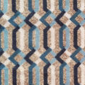 Luxe Fleece Fabric -Navy & Gray Lattice