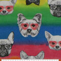Super Snuggle Flannel Fabric-Tie Dye Pups with Glasses