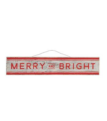 3R Studios Christmas Pine Wood Wall Decor-Merry & Bright