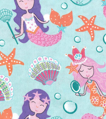 "Snuggle Flannel Fabric 42""-Pretty Mermaids"