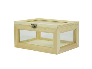 Wooden Box W/Glass Side Small