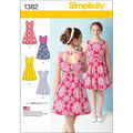Simplicity Pattern 1382AA 8-10-12-14-Girl Dresses