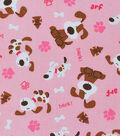Novelty Cotton Fabric -Dog & Bark on Pink