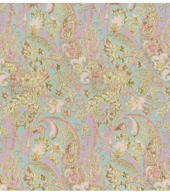 Brocades Fabric -Gold and Aqua