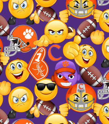 Clemson University Tigers Cotton Fabric -Emoji