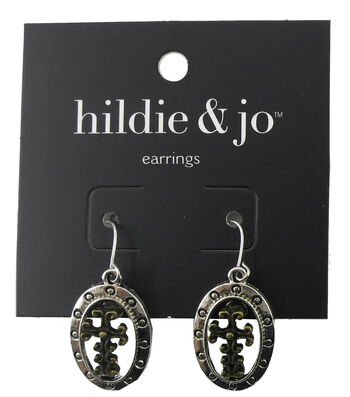 hildie & jo Cross Antique Silver & Antique Gold Earrings