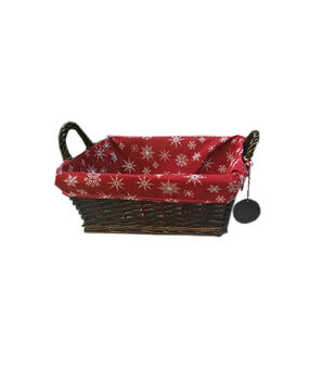 Handmade Holiday Christmas 13'' Basket with Snowflakes on Red Liner