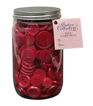Button Collector Mason Jar-Red
