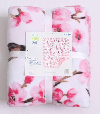 No Sew Fleece Throw Kit 72''-Birds & Blossoms