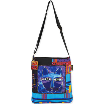 """Laurel Burch Tote- Crossbody 13""""X14"""" Whiskered Cats"""