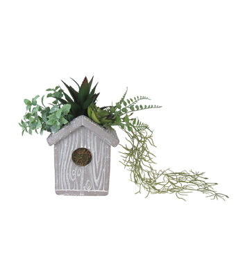 Hello Spring Gardening Cement Birdhouse with Succulents
