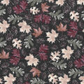 Harvest Cotton Fabric-Watercolor Leaves & Pinecones