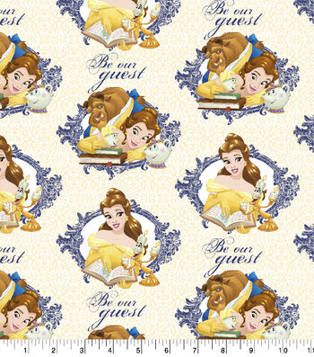 """Disney Beauty and the Beast Cotton Fabric 43""""-Be Our Guest"""