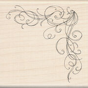 "Inkadinkado Mounted Rubber Stamp 3""X3""-Large Corner Flourish, , hi-res"