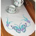 Fairway Needlecraft 15\u0027\u0027x42\u0027\u0027 Stamped Perle Edge Dresser Scarf-Butterfly