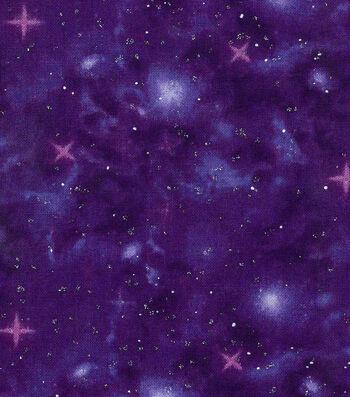 Keepsake Calico Cotton Fabric 43''-Metallic & Dark Purple Galaxy