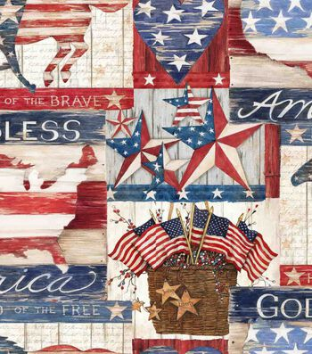 Patriotic Cotton Fabric 43''-Land of The Free