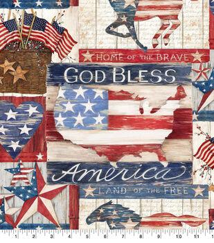 Patriotic Cotton Fabric 43''-Land of The Free