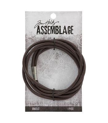 Tim Holtz Assemblage 15.75'' Magnetic Cord Bracelet-Brown