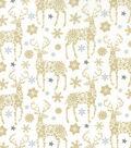Christmas Cotton Fabric 43\u0022-Gold Metallic Snowflake Deer