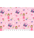 Snuggle Flannel Fabric -Princess Icons on Pink