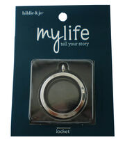 hildie & jo My Life Round Silver Locket-Clear Glass, , hi-res