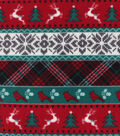 Anti-Pill Plush Fleece Fabric-Red Green Plaid Fair Aisle Holiday