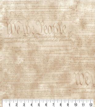 Patriotic Cotton Fabric-Declaration on Cream
