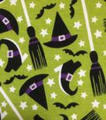 Halloween Cotton Interlock Fabric 57\u0022-Green Glitter Witch