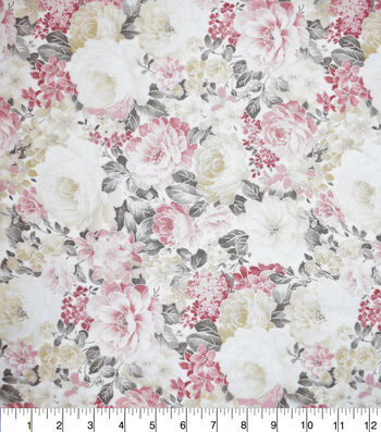 """Premium Cotton Fabric 43""""-Packed Garden Gray Pearl"""